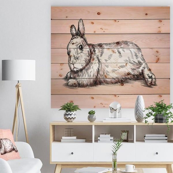 Designart 'Brush painting ink draw isolated rabbit illustration' Farmhouse Animal Painting Print on Natural Pine Wood - Pink