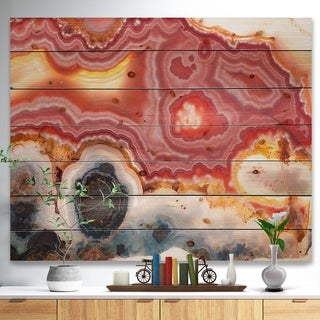 Designart 'Round Rough Agate mineral sample -Stone Print on Natural Pine Wood - Pink