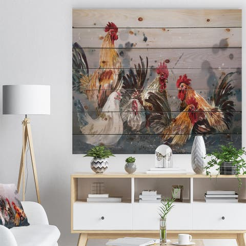Designart 'Group of Rooster in Gray Farm background' Farmhouse Animal Painting Print on Natural Pine Wood - Grey