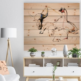 Designart 'Buffalo and duck' Animals Sketch Painting Print on Natural Pine Wood - Brown