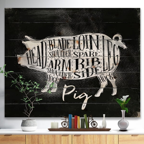 Designart 'Pig pork cutting scheme chalk' Farmhouse Animal Painting Print on Natural Pine Wood - Black