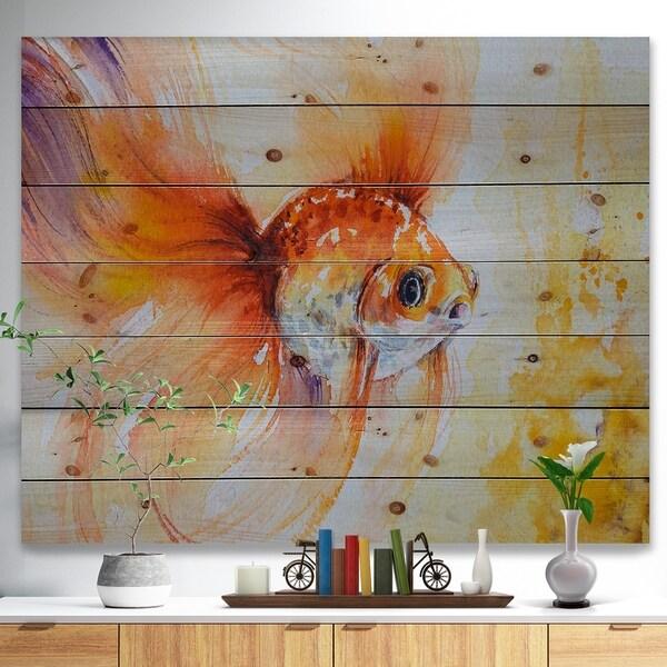 Designart 'Orange Glodfish in water' Animals Painting Print on Natural Pine Wood - Multi-color