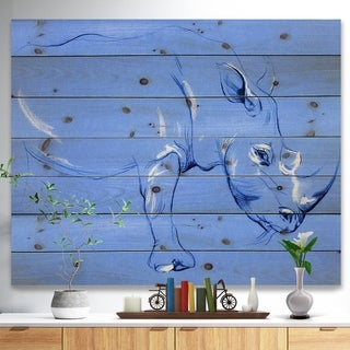Designart 'Rhinoceros painting' Animals Sketch Painting Print on Natural Pine Wood - Blue