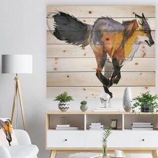 Designart 'Running Fox watercolor illustration' Animals Painting Print on Natural Pine Wood - White