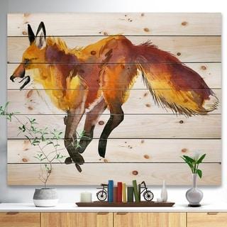 Designart 'Cute fox wtercolor illustration' Animals Painting Print on Natural Pine Wood - White