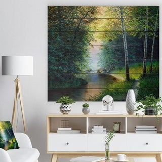 Designart 'River with Waterful' Landscapes Painting Print on Natural Pine Wood - Green