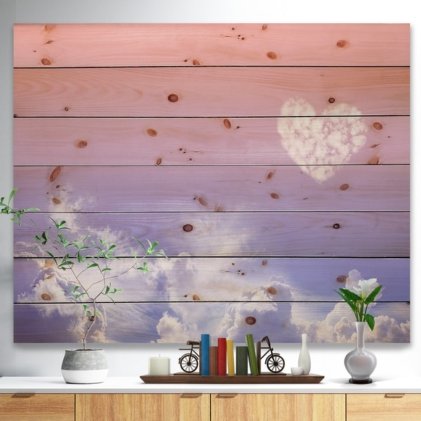 Designart 'Love is in the Air' Digital Print on Natural Pine Wood - Purple