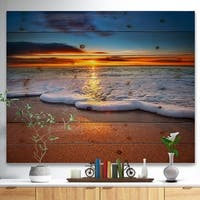 'Sunrise light shining from Blue Sky' Landscapes Sea & Shore Print on Natural Pine Wood - Brown