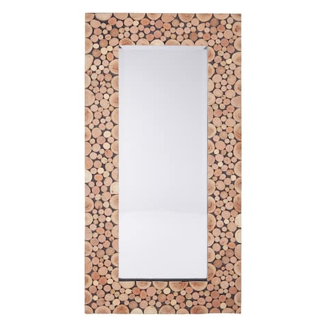 OSP Home Furnishings Grove Wooden Mirror in Lightwood Finish - Natural/Mocha