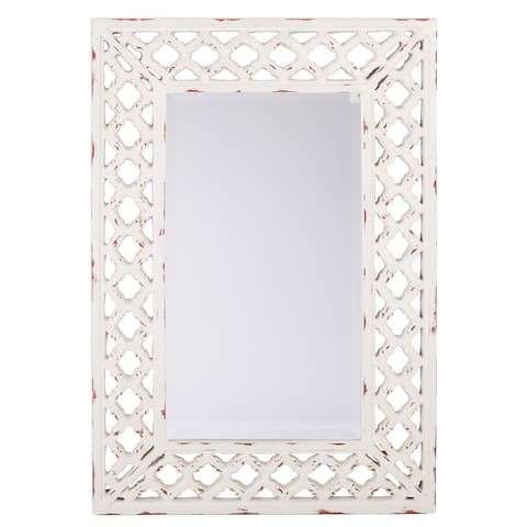 OSP Home Furnishings Victoria Vintage Mirror with White Finish - Off-White