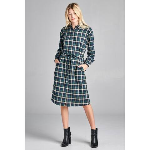 JED Women's Cotton Plaid Long Sleeve Button Down Shirt Dress