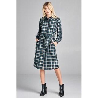 JED Women's Cotton Plaid Long Sleeve Button Down Shirt Dress