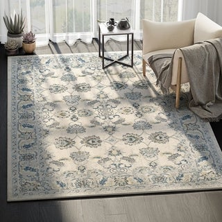 Traditional Lennox Abstract Blue/ Ivory Indoor Rug