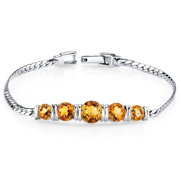 6985967930a46c Shop Citrine Bracelet Sterling Silver Round Cut 3.75 Carats - On Sale -  Free Shipping Today - Overstock - 23549916