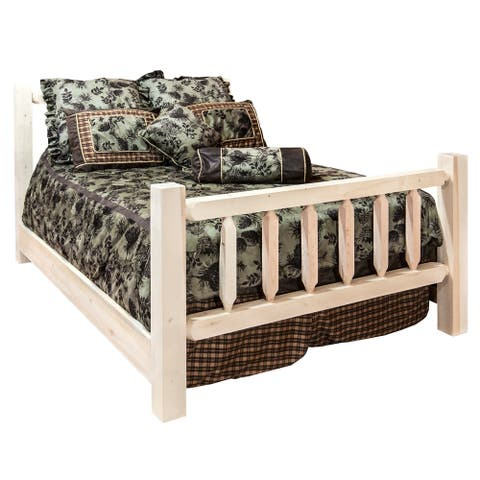 Frontier Collection Spindle Style Bed, Clear Lacquer Finish