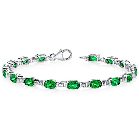 7.00 carats Oval Shape Simulated Emerald Bracelet in Sterling Silver