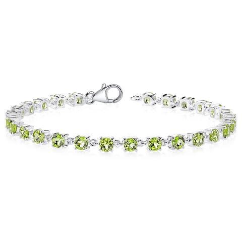 7.25 Carats Peridot Bracelet Sterling Silver Soft Link Style