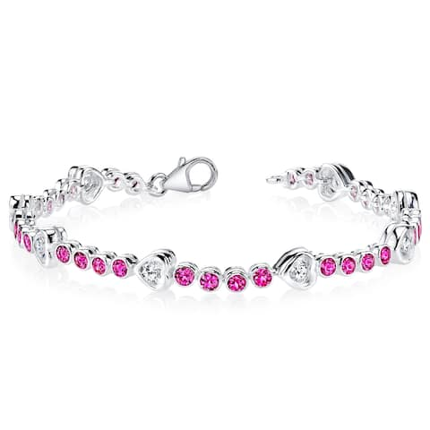 Created Ruby Bracelet Sterling Silver 3.00 Carats CZ Accent