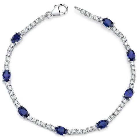 Created Sapphire Bracelet Sterling Silver 4.25 Carats CZ Accent