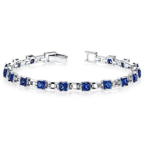 6.00 Carats Princess Cut Created Sapphire Bracelet Sterling Silver