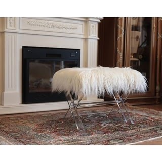 Best Quality Furniture Faux Fur X-Leg Ottoman Bench