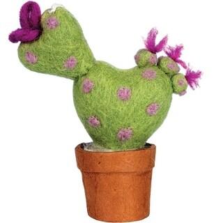 Handmade Felt Love Cactus Ornament (Nepal)