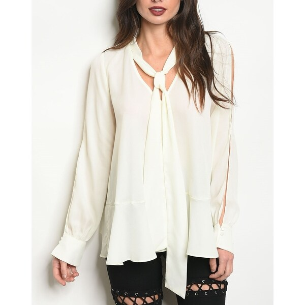 JED Women's Ivory Long Sleeve Bow Blouse