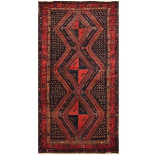 Handmade Herat Oriental Hand-knotted Persian Semi-antique 1960s Nahavand Wool Rug (4'10 x 9'5)