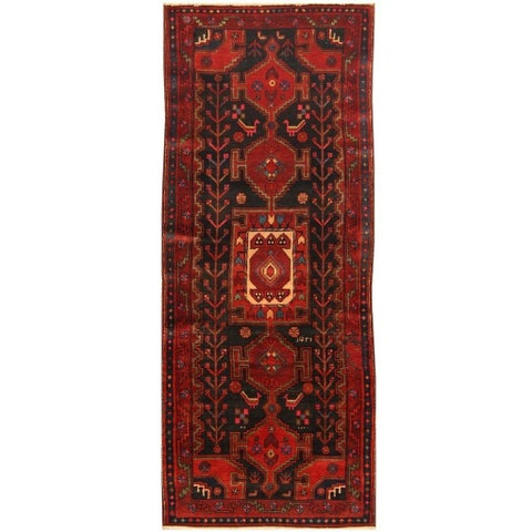 Handmade Herat Oriental Hand-knotted Persian Semi-antique 1960s Nahavand Wool Rug (3'7 x 9'2) - 3'7 x 9'2