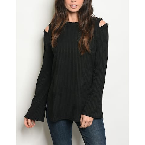 JED Women's Cold Shoulder Ribbed Knit Long Sleeve Top