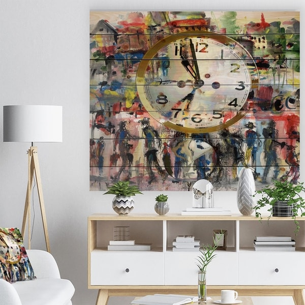 Designart 'People and Time Acrylic Watercolor' Abstract Print on Natural Pine Wood - Red