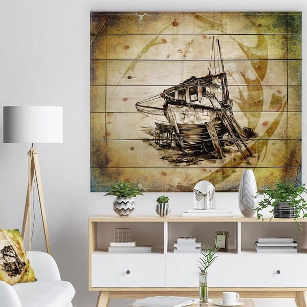 Designart 'Drawing of Large Ancient Boat' Seashore Print on Natural Pine Wood - Multi-color