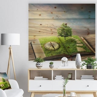 Designart 'Book of Life with Greenery' Landscape Print on Natural Pine Wood - Multi-color