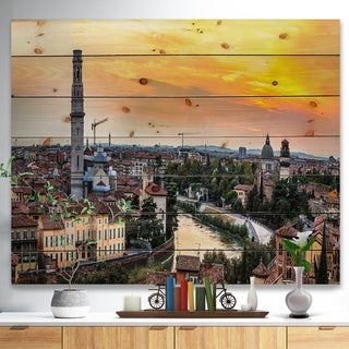 Designart 'Verona at Sunset in Italy' Cityscape Print on Natural Pine Wood - Multi-color