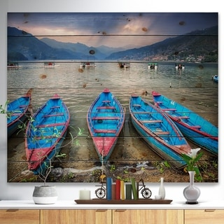 Designart 'Row of Blue Boats in Pokhara Lake' Boat Print on Natural Pine Wood