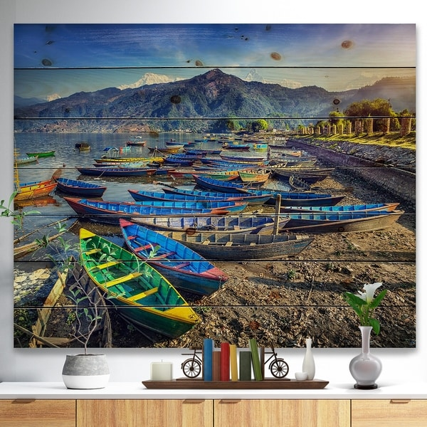 Designart 'Colorful Boats in Pokhara Lake' Boat Print on Natural Pine Wood - Multi-color