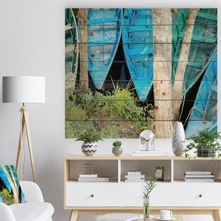 Designart 'Blue Boats on Lake Phewa' Boat Print on Natural Pine Wood - Blue