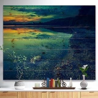 Designart 'Dark Vintage Lake at Sunset' Boat Print on Natural Pine Wood - Multi-color