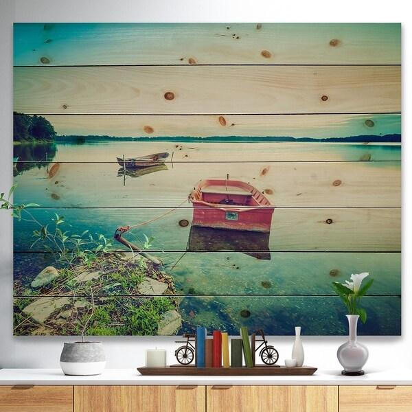 Designart 'Beautiful Lake Vintage View' Boat Print on Natural Pine Wood - Multi-color