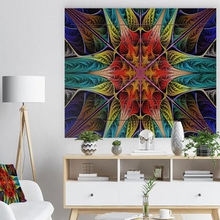 Designart 'Colorful Fractal Stained Glass' Abstract Print on Natural Pine Wood - Multi-color