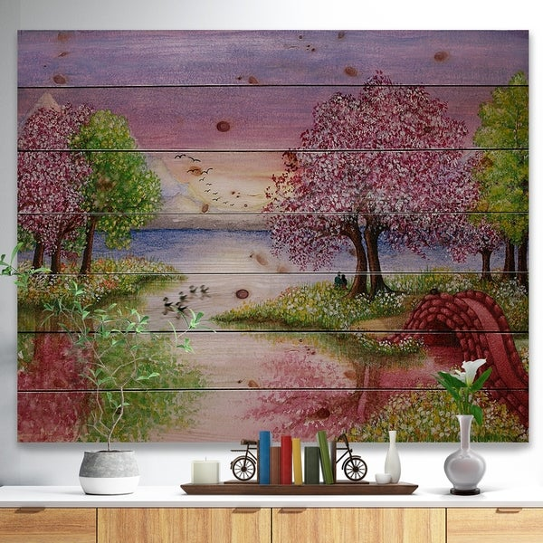 Designart 'Romantic Lake in Pink and Green' Landscape Print on Natural Pine Wood - Green
