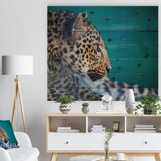 'Vigilant Leopard Close Up View' African Print on Natural Pine Wood - White