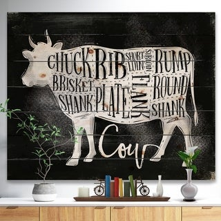 Designart 'Beef cutting scheme chalk' Farmhouse Animal Painting Print on Natural Pine Wood - Black