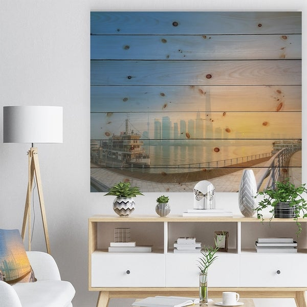 Designart 'Shanghais Night with Lights' Cityscape Print on Natural Pine Wood - Multi-color