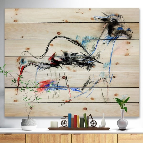 Designart 'Stork and llama' Animals Sketch Painting Print on Natural Pine Wood - White