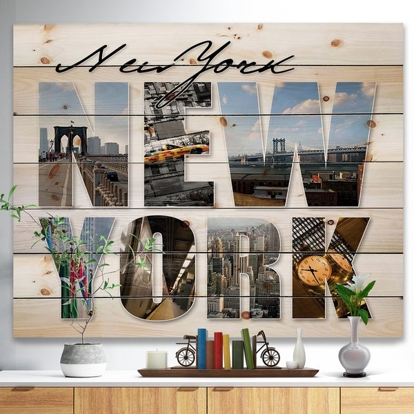 Designart 'New York City Graphic Montage' Cityscape Print on Natural Pine Wood - Multi-color