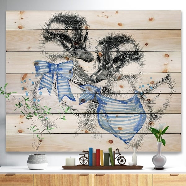 Designart 'Cute Two Little Duckling' Animals Painting Print on Natural Pine Wood - White