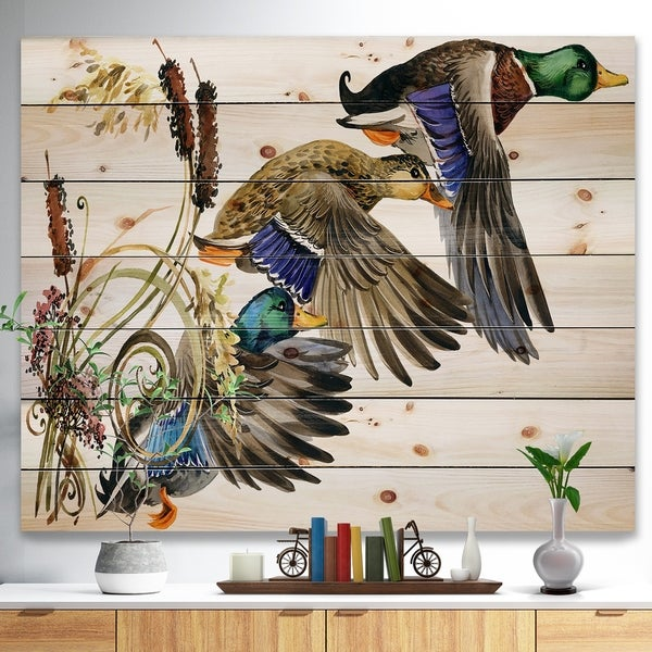 Designart 'Three Flying Ducks in Colored illustration' Farmhouse Animal Painting Print on Natural Pine Wood - White