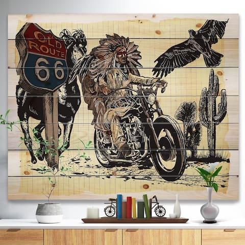 Designart 'Native American in Motorcycle' Sketch of Indian Animals Painting Print on Natural Pine Wood - Brown