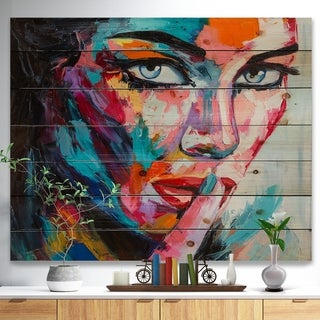 Designart 'Woman Portrait Can You Keep it' Glamour Painting Print on Natural Pine Wood - Multi-color